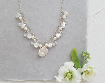 Pearl Cluster Necklace, Keshi Pearl Necklace, White Pearl Necklace, Pearl Bridal Necklace, White Pearl and Chain Necklace, Wedding Necklace