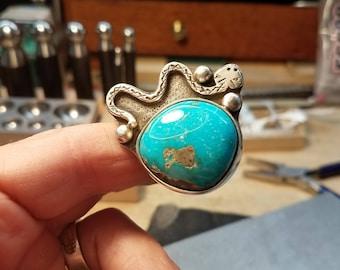 Kingman Turquoise Ring. Rattlesnake Ring. Turquoise Statement Ring. Large Turquoise Ring. Southwest Jewelry. Handmade.