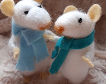 Pair of Needle felted white mice