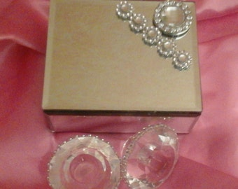 Beautiful bejeweled mirrored storage box and crystal candle holders