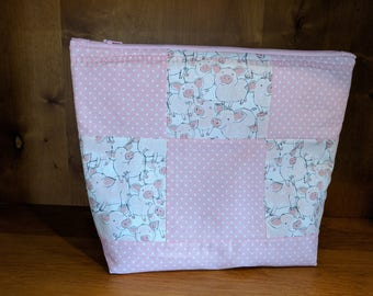 Pink Piggy Quilted Zipper Pouch, Make-Up and Cosmetic Bag, Travel Bag, Electronic Case, Cord Storage - Pink Piggy Polka Dots