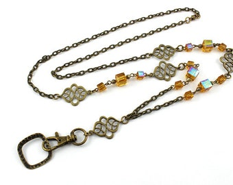 ID Badge Lanyard Necklace, Cute ID Lanyard, Woman's Lanyard, Vintage Lanyard, Beaded Lanyard, Breakaway Lanyard, Teacher Lanyard,Cruise