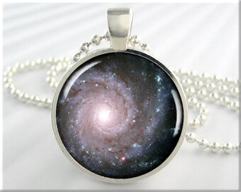 Galaxy Space Pendant, Messier74 Galaxy Necklace, Hubble Image Charm, Resin Jewelry, Round Silver, Space Geek Gift 640RS
