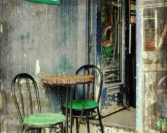 Vintage sidewalk cafe summer table chairs boho home grunge kitchen art home decor wall art - Le Bistro 8 x 10