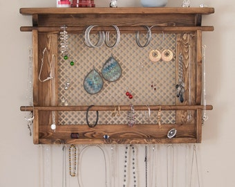 Jewelry Organizer LARGE Wall Mounted Jewelry Holder Shown in
