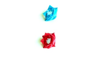 Origami Push pins red and blue origami flowers set of four