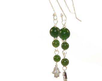 Dainty Hamsa Symbol Greenstone Earrings - Delicate nephrite Jade Drops