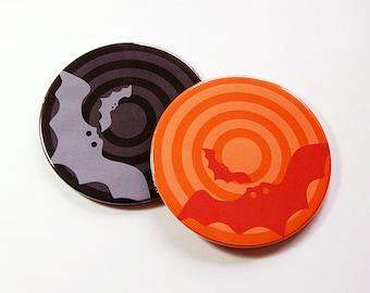 Halloween Coasters, Drink Coasters, Coasters, Wine Coasters, Set of Coasters, Halloween party, Halloween, Bats, Orange, Black (5108a)