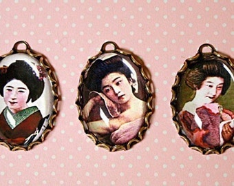 5 pcs JAPANESE GEISHA GIRLS Charm Set-geisha charms-japanese charms-asian women charms