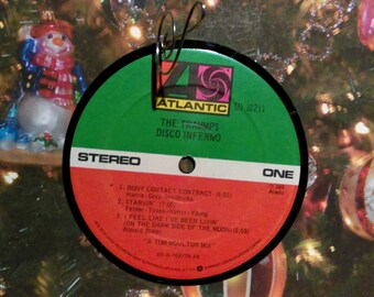 THE TRAMMPS Disco Inferno (1976) Ornament Vinyl Record Album Upcycled Recycled Christmas