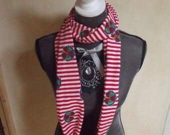 scarf tube striped red and White Peacock