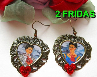 Frida KAHLO earrings VINTAGE style Dia de los Muertos mexico folk art day of the dead altered aretes corazon sacred heart Tribal Unique