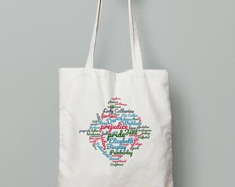 Pride and Prejudice Jane Austen Tote bag - bookish gift for bookworms and Mr Darcy lovers