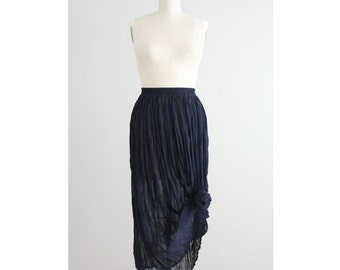 crinkle skirt | textured skirt | sheer navy blue skirt