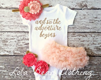 Baby Girl Coming Home Outfit And So the Adventure Begins Take Home Outfit Newborn Baby Girl lolabeanclothing Coral & Peach headband Bloomers