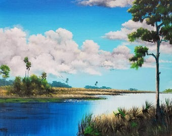 Original Painting Florida Landscape Art Tropical Painting River Pine Tree