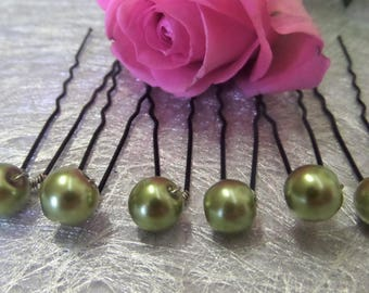 Hair pins, wedding hair accessory khaki Pearl bridal hair accessories