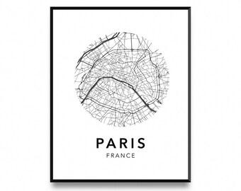 Paris map poster, map of paris poster, paris map, paris city map, paris print, map wall art poster, map print, printable art, art prints