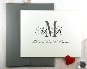 Personalized Stationery, Thank You Cards, Monogram Stationary Set, Wedding Stationery Set, Paper Anniversary Gift, For the Couple, Set of 50