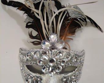 Venetian Masquerade mask with artificial precious stones Women's Feathered Venetian Mardi Gras Masquerade Mask