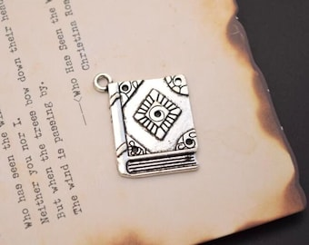 20 antique silver book charms dictionary charm pendant pendants   (HJ04)