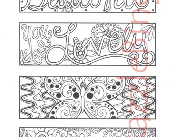 diy bookmark printable coloring page zentangle inspired you are beautiful zendoodle doodle - Free Mothers Day Coloring Pages 2