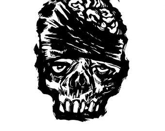 "Hand-pulled Linocut - ""Deadhead"""