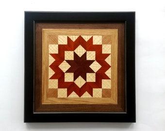 Framed Wood Wall Art, Carpenter's Wheel Quilt Block Wall Hanging, Geometric and Mosaic Wall Decor