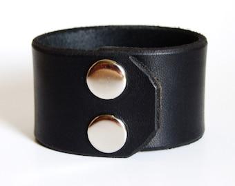 Hard thick leather bracelet