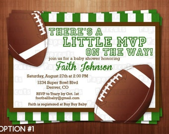 Football Theme Baby Shower Party Invitation | Green & Brown | Personalized | Printable DIY Digital File