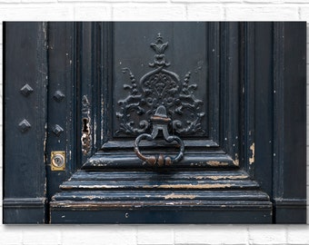 Paris Photograph on Canvas - Black Door with Knocker,  Gallery Wrapped Canvas, Architecture Photograph, Urban Decor, Large Wall Art