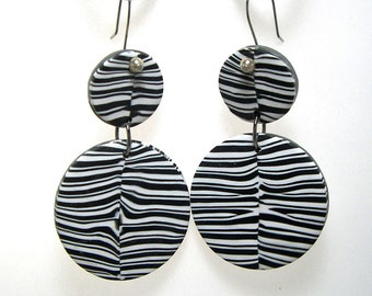 Earrings Black and White Bold Drops Statement