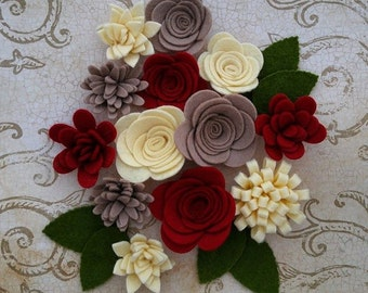 Handmade Wool Felt Flowers, Crimson, Straw and Taupe