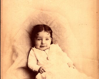 antique cabinet photograph denver colorado beautiful baby wearing ring and necklace and darling smile