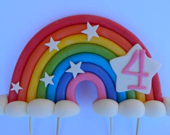 3D edible RAINBOW AGE STARS personalised wedding topper decoration wedding anniversary birthday engagement
