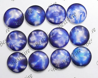 One Set The Signs of the Zodiac 25mm Round Glass Cabochons,jewelry Cabochons finding beads,Glass Cabochons,Constellations