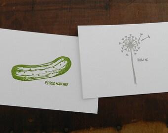 Set of 4 Letterpress Funny Postcards