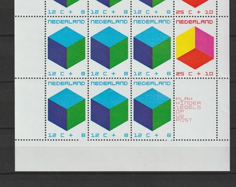 Netherlands 1970 cubes sheet and stamps with original gum, not hinged.