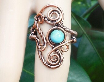 Turquoise wire wrapped ring, unique boho rings, wire ring size 7, wire wrapped jewelry, gypsy rings, bohemian rings, tribal rings