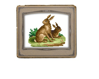 Two brown bunny rabbits - cross stitch pattern. Instant download PDF
