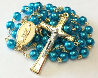 Holy Family Catholic Handmade Rosary in Teal Czech Glass Pearls
