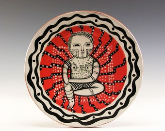 Dessert or Tapas Plate - Painting by Jenny Mendes on a round ceramic tapas plate - Tatts