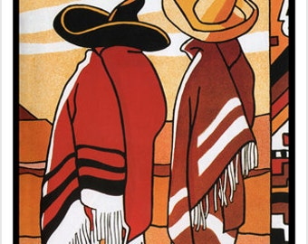 Vintage Mexico TRAVEL POSTER 24X36 senors and sombreros cultural LATINO