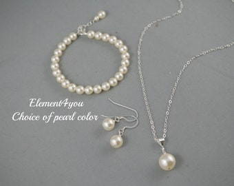 Simple bridal jewelry set necklace bracelet earrings Single pearl pendant drop Wedding jewelry gift Sterling silver bridesmaid gift bridal
