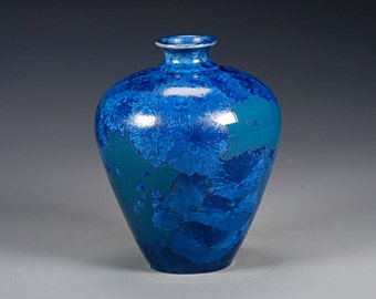 Porcelain Vase - Blue - Crystaline Glaze - Hand Made Ceramics - FREE SHIPPING - #B-5168