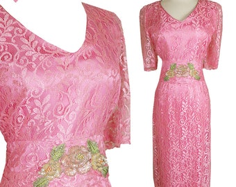 Vintage 80s Dress / 80s Prom Dress / 80s Party Dress / Pink Lace Dress / L XL Large Extra Short Sleeve Sequin Glam 20s Art Deco Great Gatsby