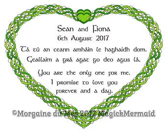 Celtic Knotwork Heart Custom Wedding Vows Print Personalized Handfasting Anniversary Renew Marriage Valentine's DayWall Art