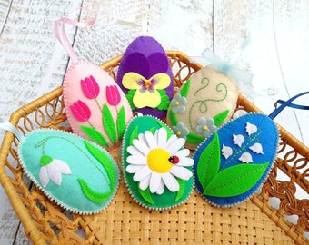 Easter eggs ornaments Felt easter decorations Floral eggs Spring decoration Spring flowers Easter egg decor Spring ornaments Easter set