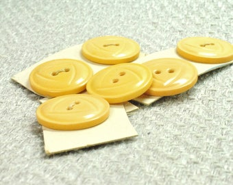 Yellow Buttons, Large Buttons, Vintage Buttons, Art Deco, Mellow Yellow, Round Buttons, Sew on Buttons,