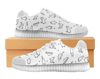 Catty blanc | LED Light Up chaussures | Hommes & femmes tailles | Tige extensible haute | Semelle intérieure en tissu | Recharger | Choisissez noir ou blanc garniture